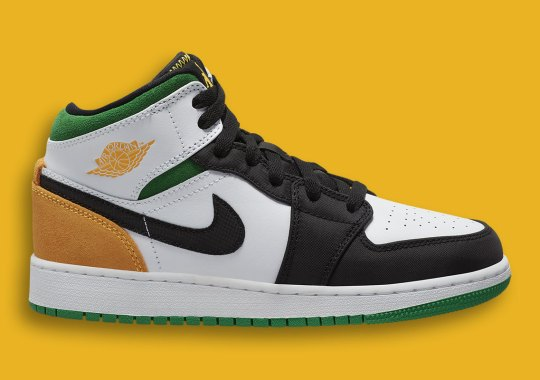 Air Jordan 1 Mid SE For Kids Pairs Up Lucky Green And Laser Orange