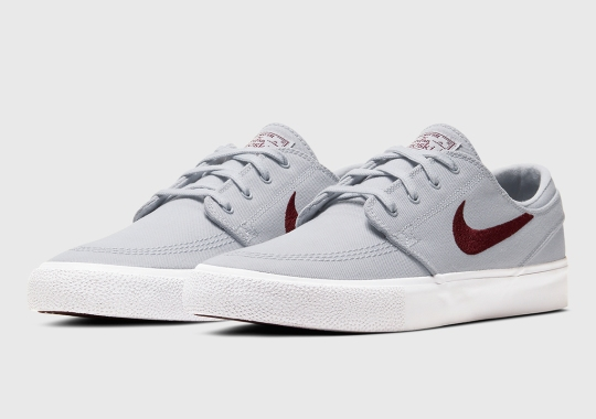 Nike SB Stefan Janoski Pairs Sky Grey Uppers With Maroon Swooshes