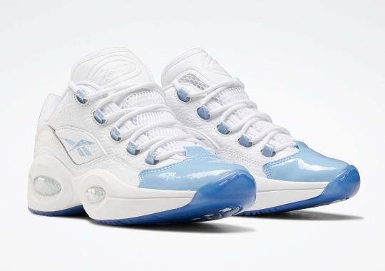 The Reebok Question Low Appears In A Patent Carolina Blue