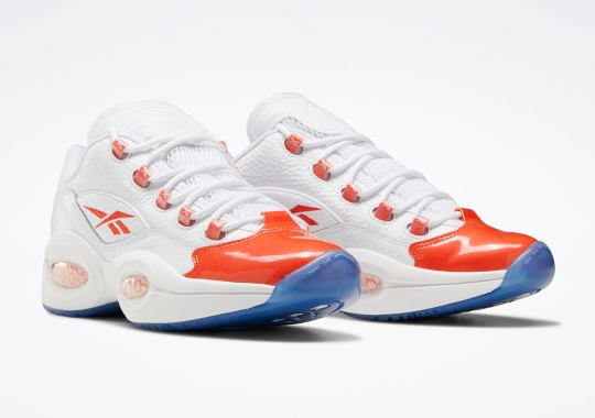 The Reebok Question Low Gets Patent Leather Toes In Reddish Orange