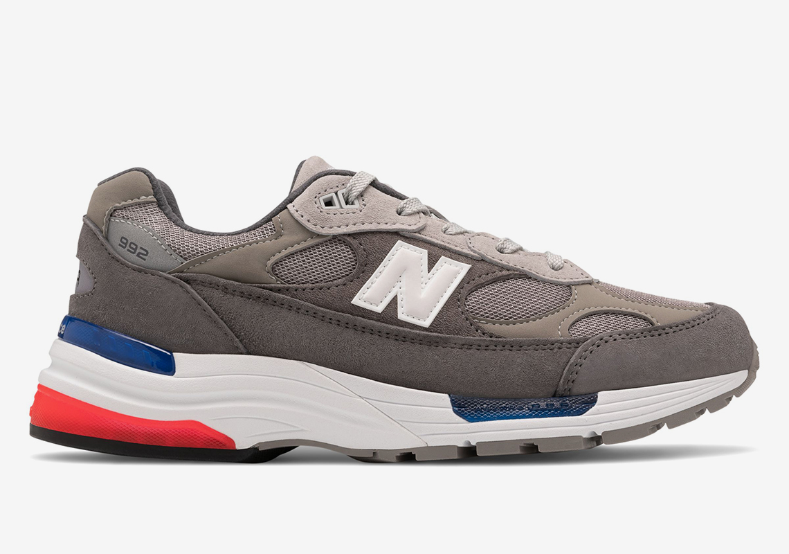 New Balance 992 Grey Red Blue Release