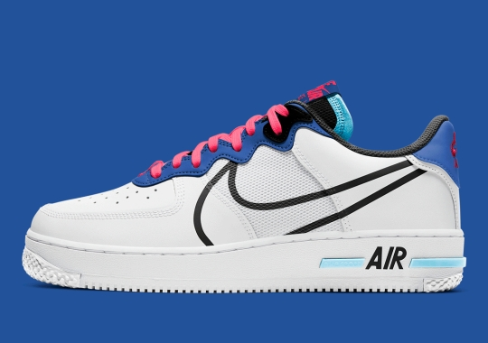 """The Remixed Nike Air Force 1 React Is Coming Soon In """"Astronomy Blue"""" And """"Laser Crimson"""""""