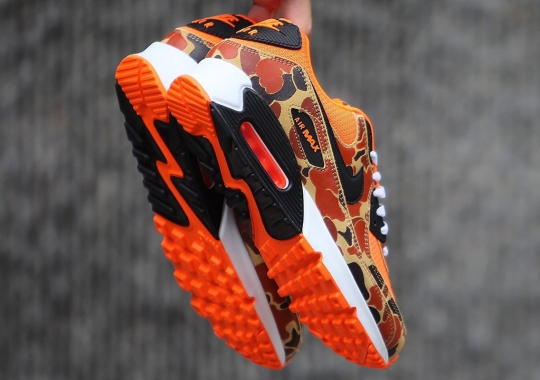 "The Third Nike Air Max 90 ""Duck Camo"" Of 2020 Emerges With Bright Orange"