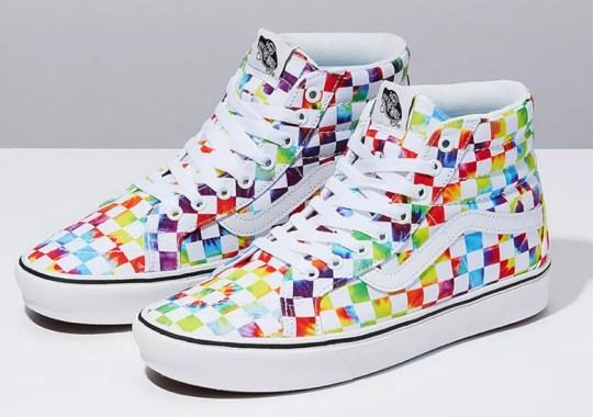 Tie-Dye Checkerboard Prints Cover The Vans Sk8-Hi ComfyCush