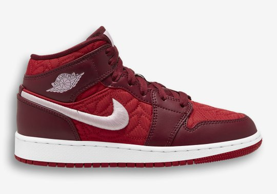 The Air Jordan 1 Mid For Girls Adds Elegant Quilted Uppers And Embroidered Swoosh Logos