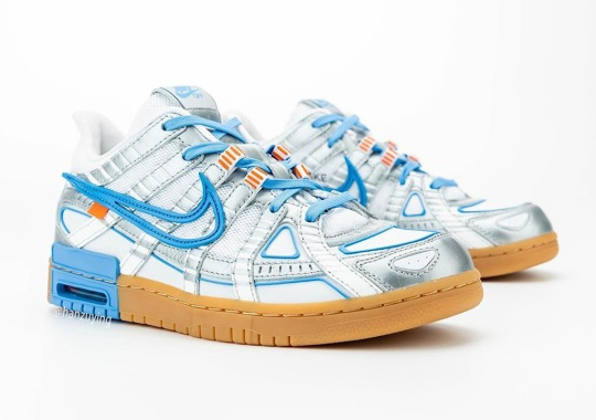 The Off-White x Nike Rubber Dunk Appears In Silver, UNC Blue, And Gum