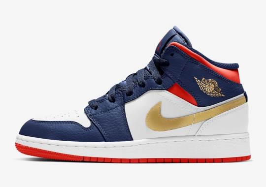 "The Air Jordan 1 Mid For Kids Gets A ""USA Olympic"" Colorway"