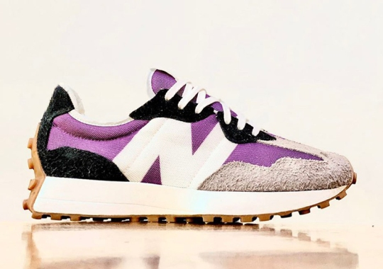 The New Balance 327 Surfaces With Gum Bottoms And Purple Uppers
