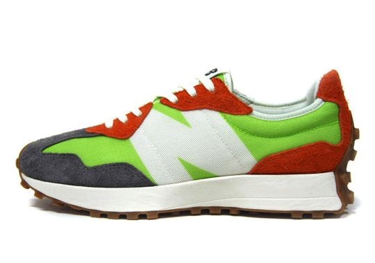 Burnt Orange And Lime Green Cover This Upcoming New Balance 327