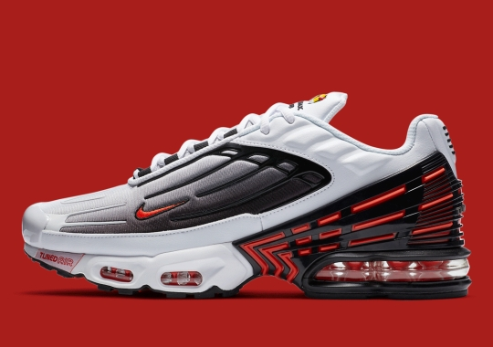 The Nike Air Max Plus 3 Appears In Classic White/Black/Red
