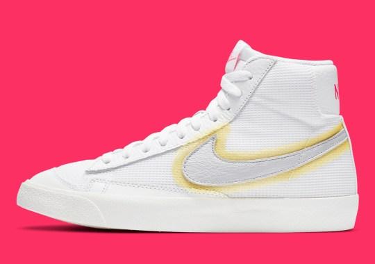 Nike Sprays On A Swoosh Onto A Mesh Blazer Mid