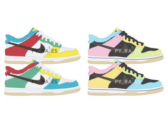 """Nike Delivers Asymmetric Coloring And Fur Sock Liners With The Dunk Low """"Free 99"""" Pack"""