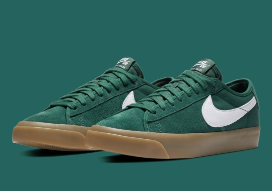 The Nike SB Blazer GT Appears In Green Suede And Gum Sole Build