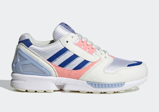 The adidas ZX 8000 Dresses Up In Team Royal Blue And Glory Pink