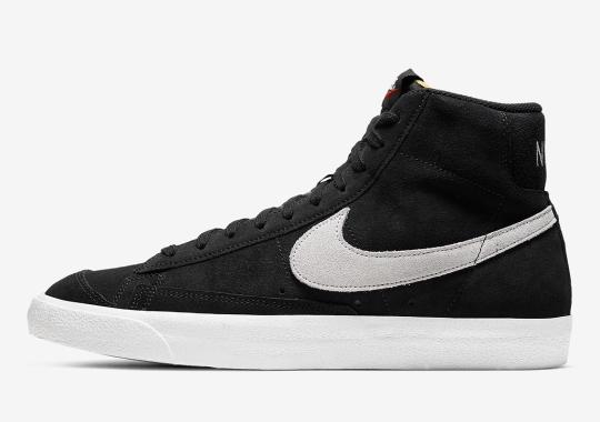 The Nike Blazer Mid '77 Combines Black Suede With Photon Dust Swooshes