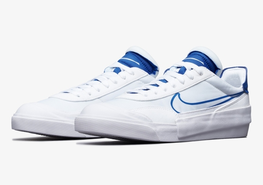 The Nike Drop Type Appears In A Simple White And Royal