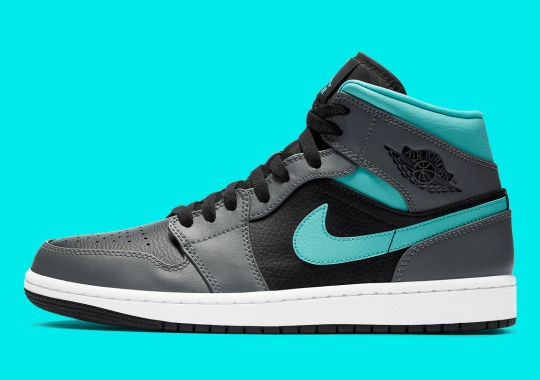 Air Jordan 1 Mid, Clad In Leather, Appears In Grey And Aqua