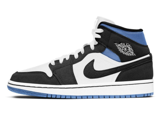 A Summer-Friendly Air Jordan 1 Mid Emerges In Black And Blue