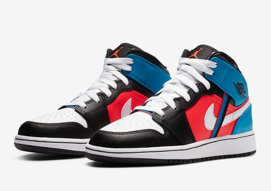 The Air Jordan 1 Mid Attaches Tri-Color Webbing To Its Side Profile