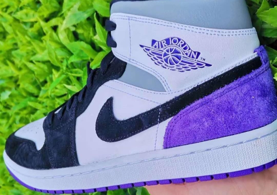 The Air Jordan 1 Mid Tweaks UNION Color Blocking With Suede Panels And Purple Accents