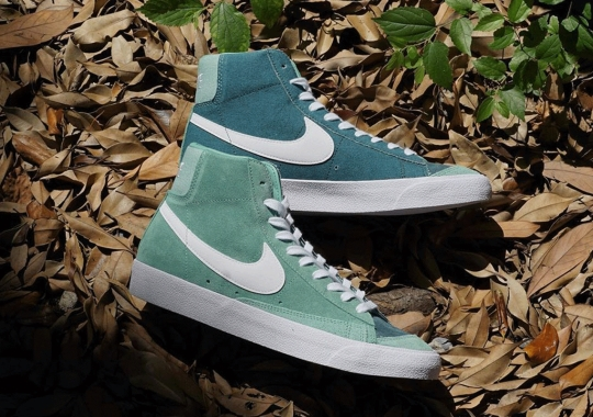 Mismatched Green Panels Adorn The Nike Blazer Mid '77 Vintage