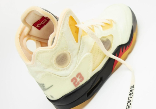 "Detailed Look At The Off-White x Air Jordan 5 ""Sail"""