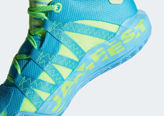 "Upcoming adidas Dame 6 ""Jam Fest"" Splits Signal Green And Bright Cyan"