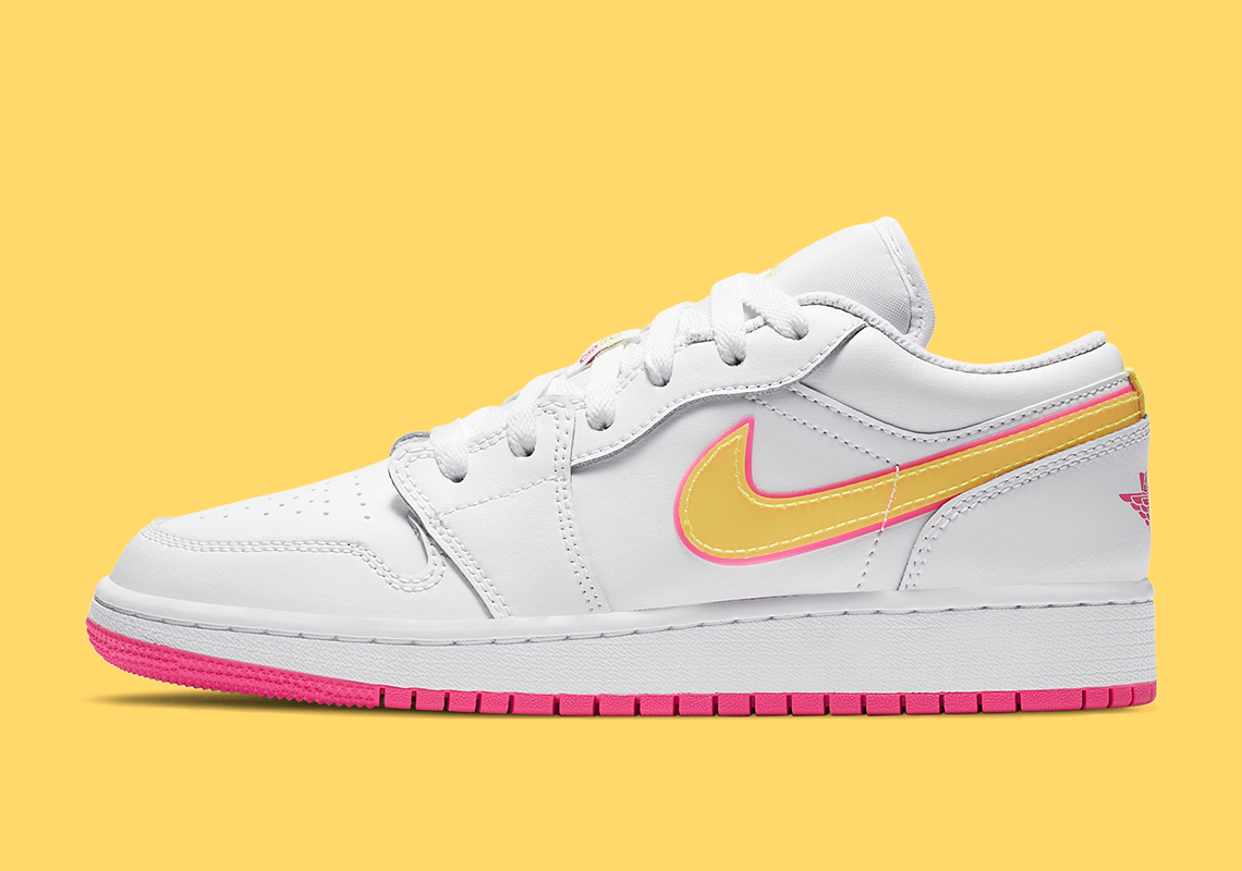 Bright Neon Accents Land On The Air Jordan 1 Low For Kids