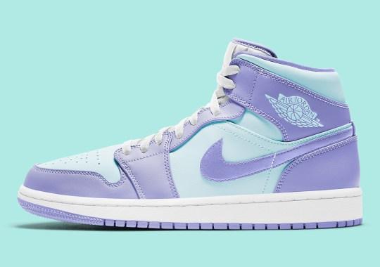 The Air Jordan 1 Mid Pairs Soft Purple And Aqua Blue