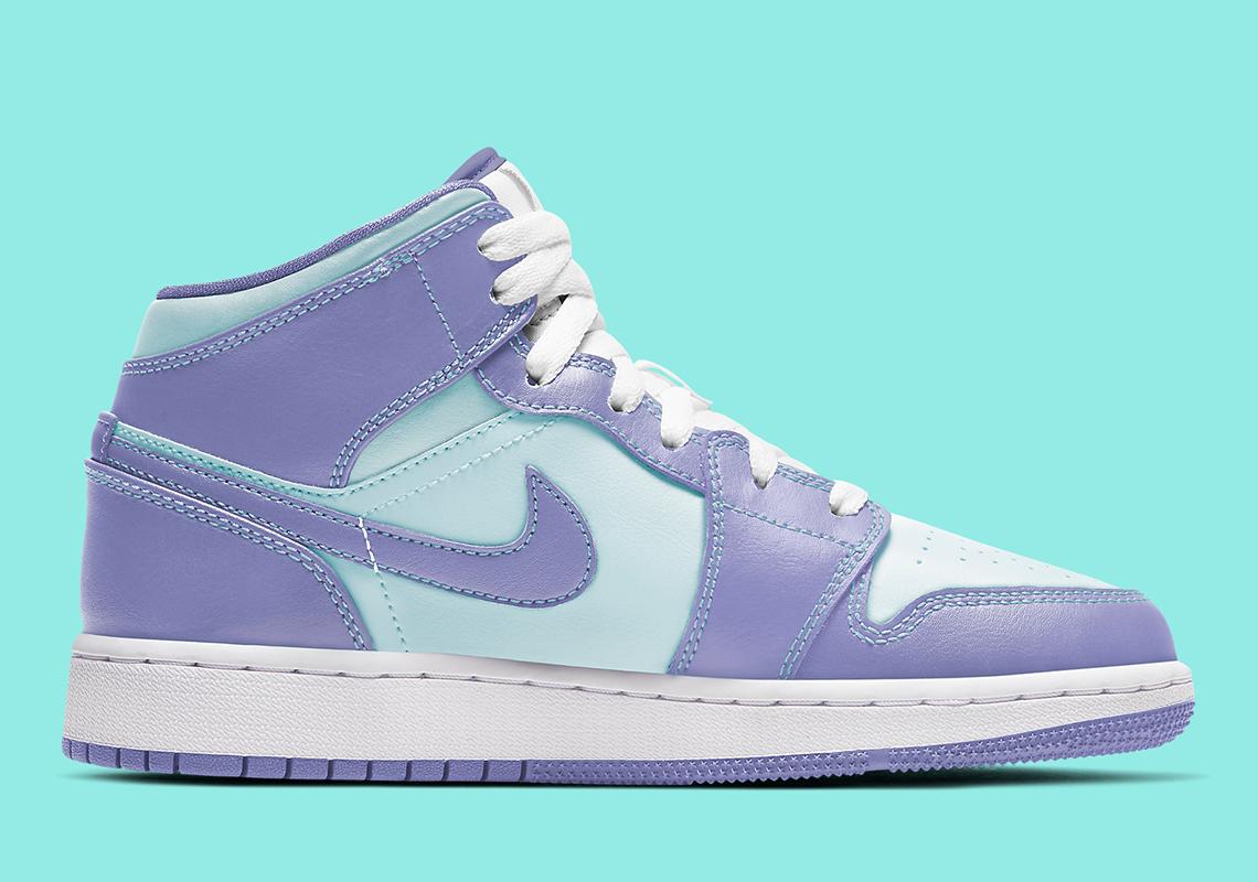 Air Jordan 1 Mid Purple Aqua 554724 500 Sneakernews Com