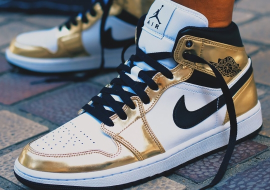 Metallic Gold Patent Leather Covers This Air Jordan 1 Mid