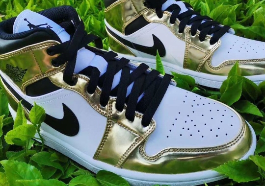 The Air Jordan 1 Mid Appears With Metallic Gold Overlays