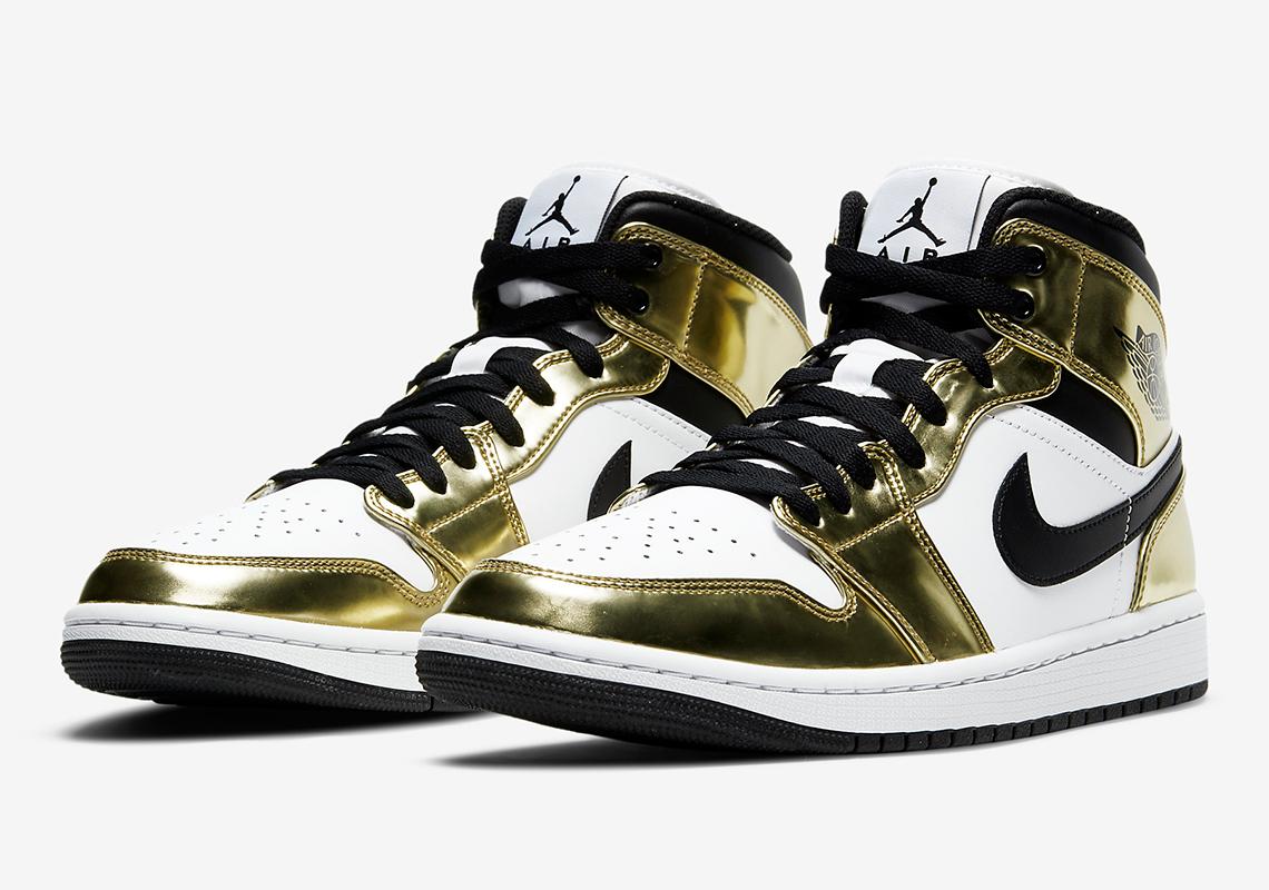 Air Jordan 1 Mid Metallic Gold White