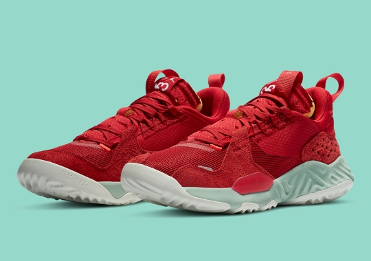 The Jordan Delta SP Pairs Bold Red Uppers With Jade Aura Midsoles