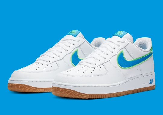 Nike Adds Bright Blue Tumbled Leather Swooshes To The Air Force 1 Low