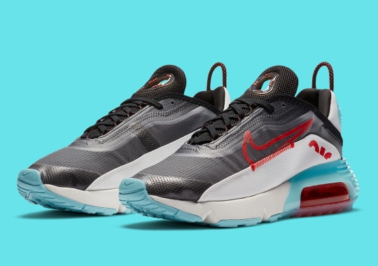 """The Nike Air Max 2090 Pairs """"Bleached Aqua"""" And """"Chile Red"""" Accents"""
