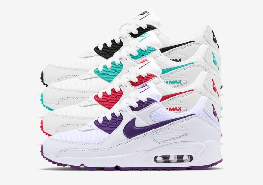 "Nike Air Max 90 ""Color Pack"" Pairs Clean White With Accent Colors"