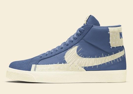 """The Nike SB Blazer Mid Premium """"Sashiko"""" Releasing In Blue And Sail"""