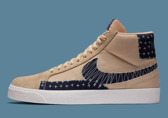 "This Nike SB Blazer Mid ""Sashiko"" Pairs Sesame Uppers With Denim Patchwork"
