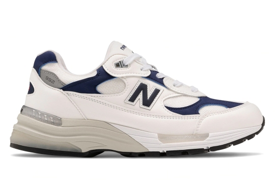 The New Balance 992 Appears In A Simple White And Navy Make-Up