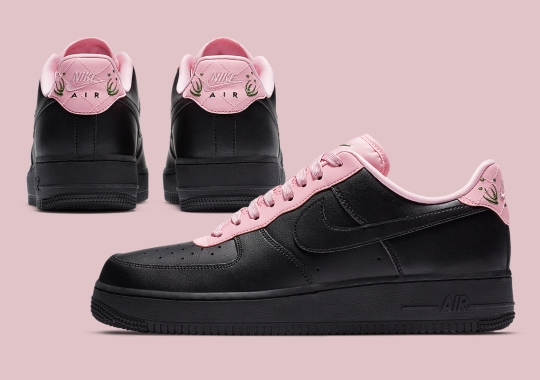This Nike Air Force 1 Adds Greenery To Pink Quilted Heels