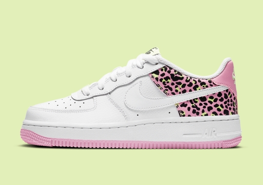 "Nike Adds Leopard Print To The Kid's Air Force 1 Low ""Pink Rise"""