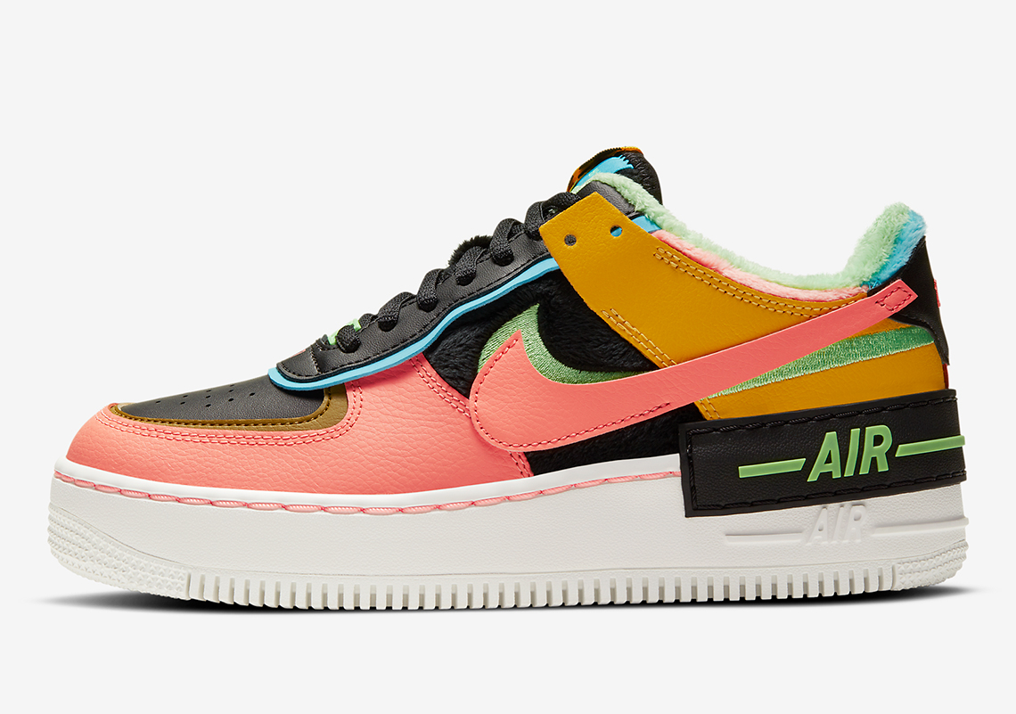 Nike Lines This Multi-colored Air Force 1 Shadow SE With Furry Velour