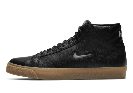 The Nike SB Zoom Blazer Mid Dresses Up In Black And Gum Brown