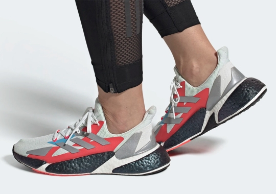 The adidas X9000L4 Appears With Crimson And Blue Accents