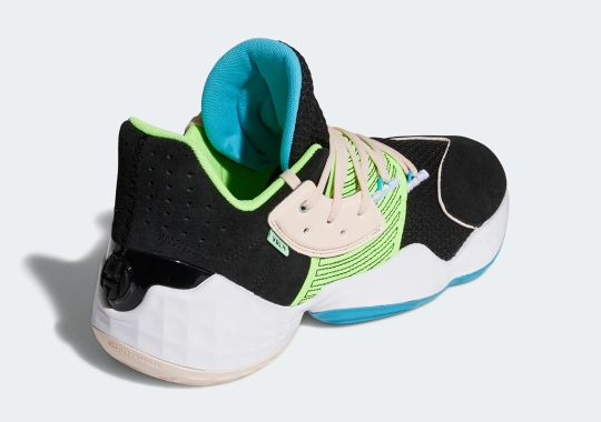 """adidas Applies Black Uppers And """"Signal Green"""" Accents To The Harden Vol. 4"""