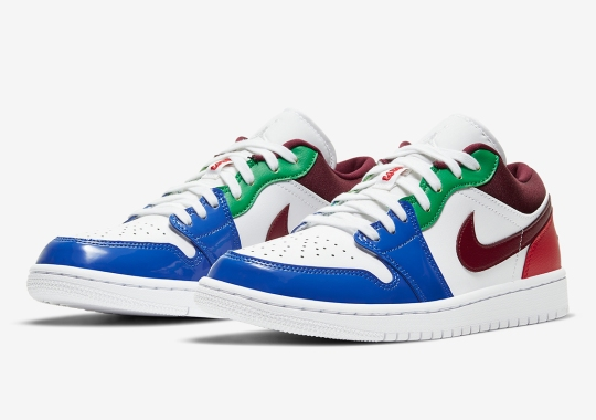 A Multi-Colored Air Jordan 1 Low Combines Patent And Smooth Leather