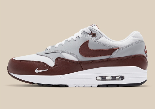 A Nike Air Max 1 Is Releasing Soon In Brown Leather And Mini Swoosh Logos