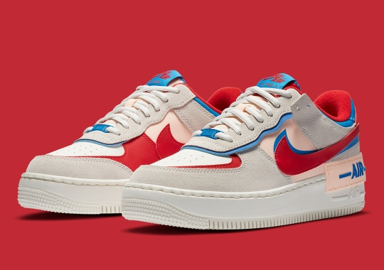 The Nike Air Force 1 Shadow Arrives In Sail, University Red, And Photo Blue