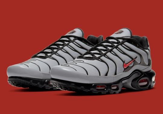 The Nike Air Max Plus Surfaces In Grey, Black, And Red